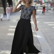 jupe tendance noir fendue et plissée-carré