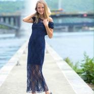 robe longue bleu à dentelle