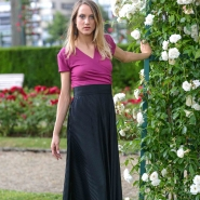 robe longue en crêpe rose et noire