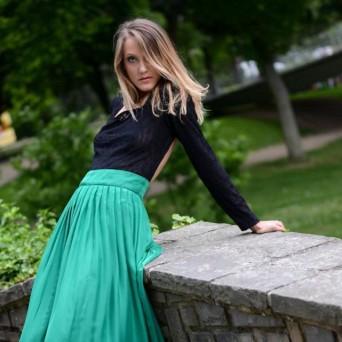robe dentelle noir et mousseline verte